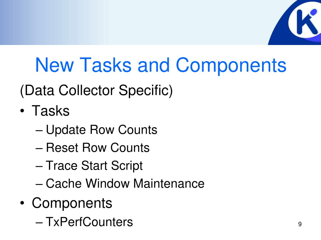 New Tasks and Components