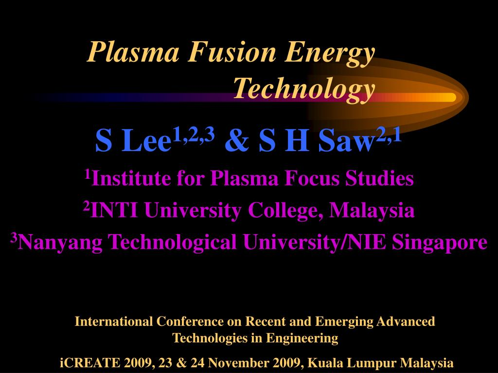 Plasma Fusion Energy Technology