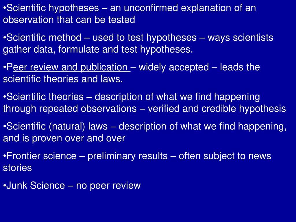 scientific hypthesis