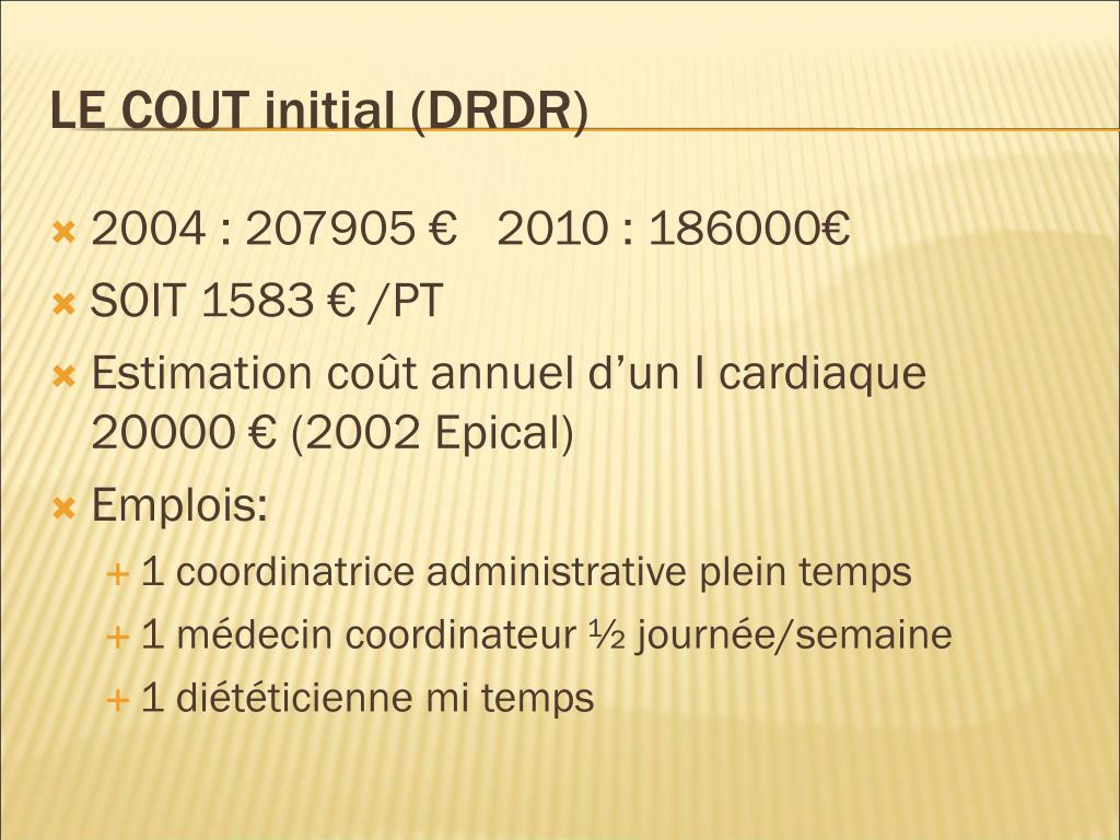LE COUT initial (DRDR)
