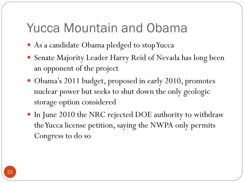 Yucca Mountain and Obama