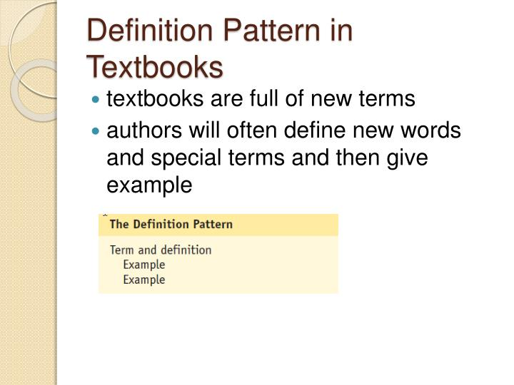 Definition Pattern in Textbooks