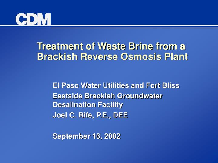 Treatment of waste brine from a brackish reverse osmosis plant l.jpg