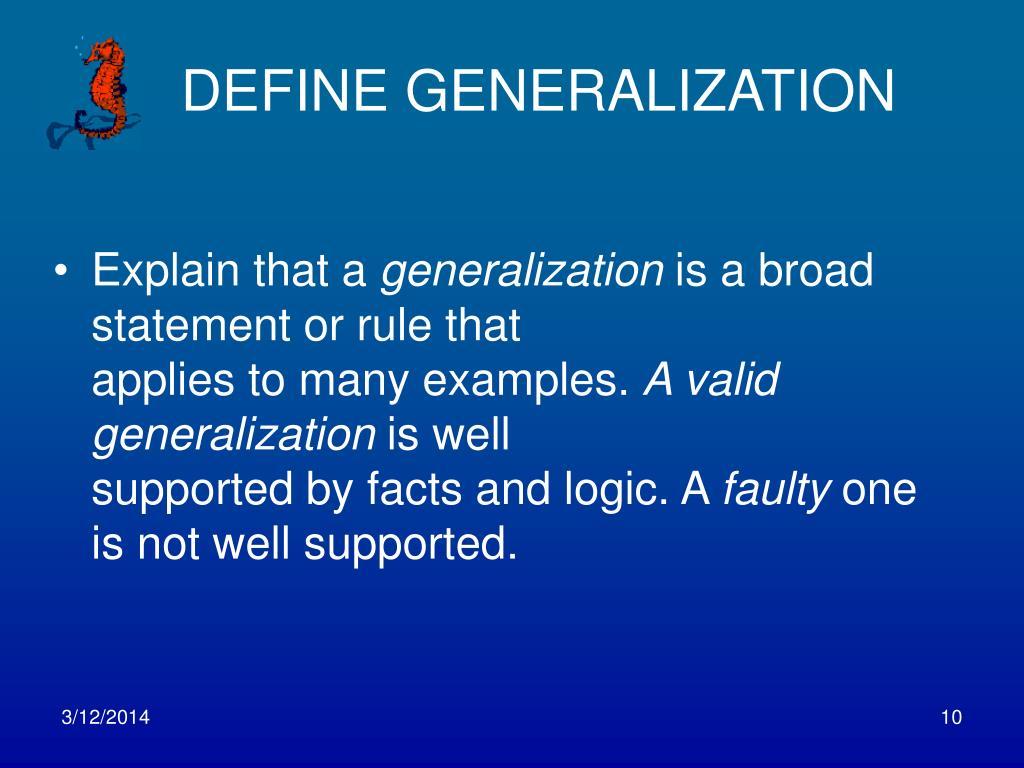 DEFINE GENERALIZATION