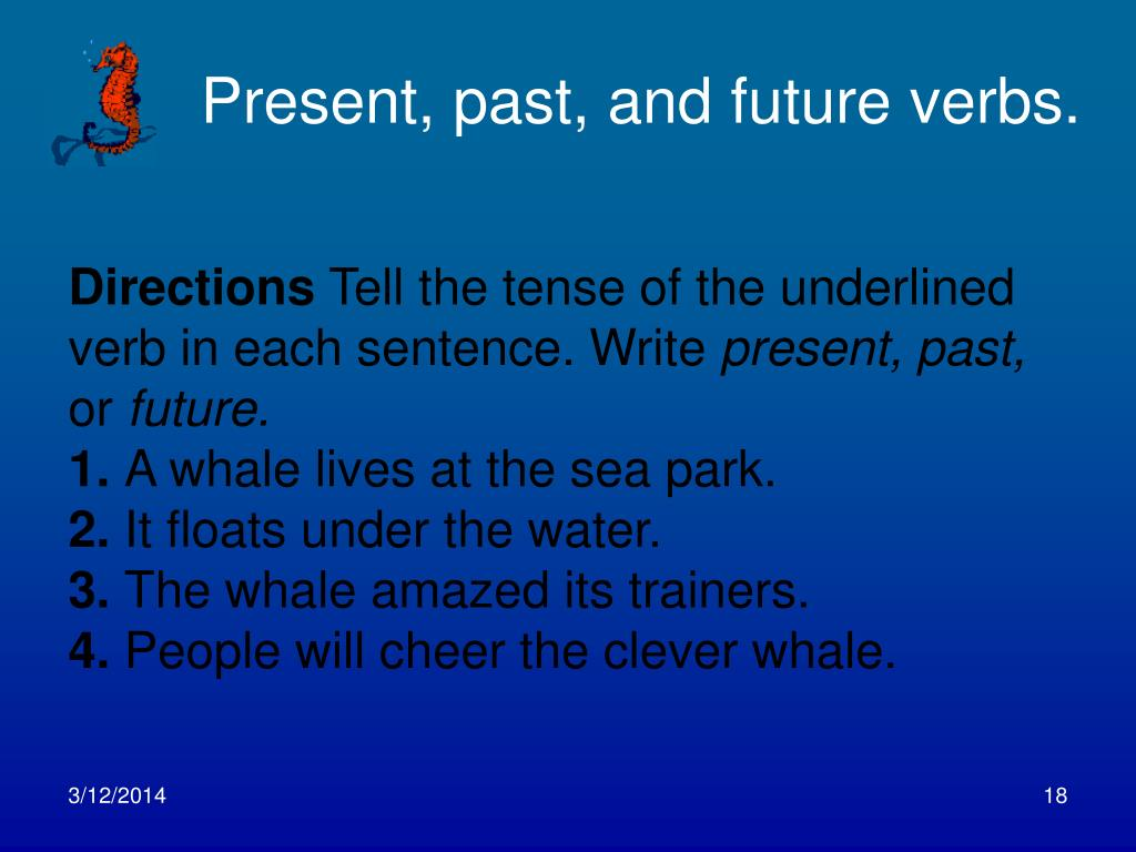Present, past, and future verbs.