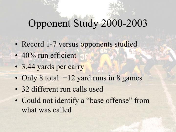 Opponent Study 2000-2003