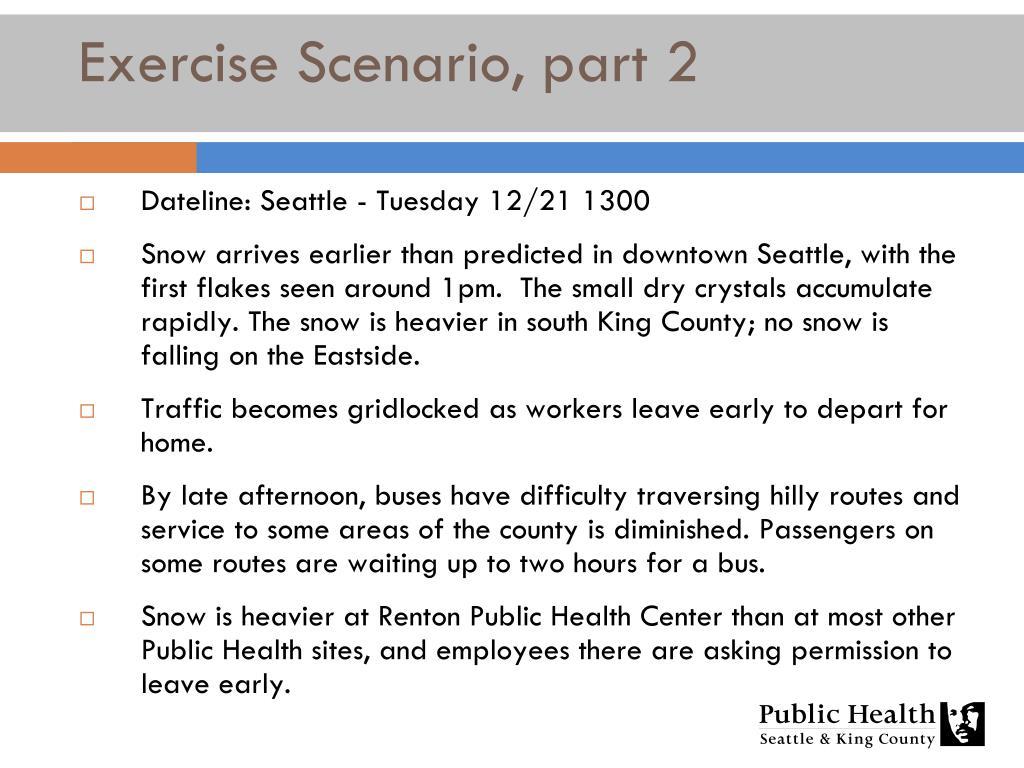 Exercise Scenario, part 2