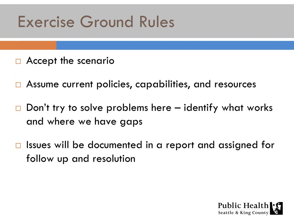 Exercise Ground Rules