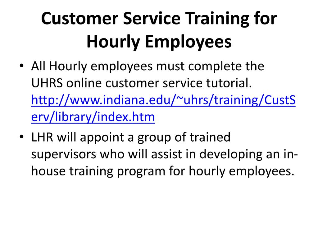 Customer Service Training for Hourly Employees