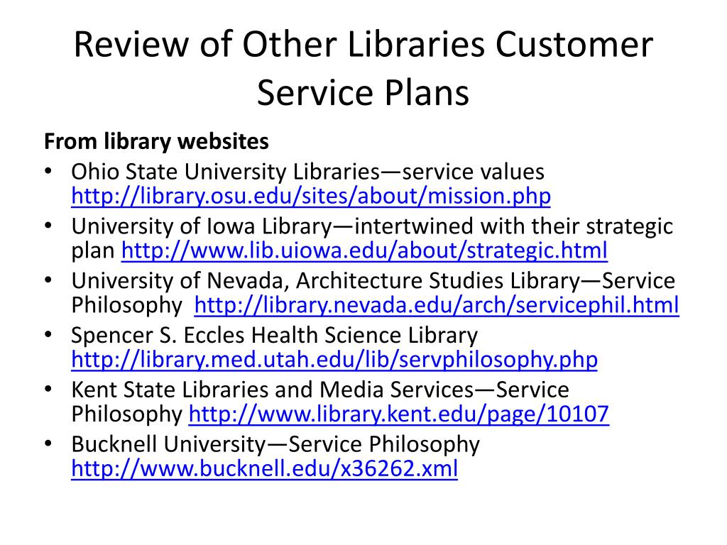 Review of Other Libraries Customer Service Plans