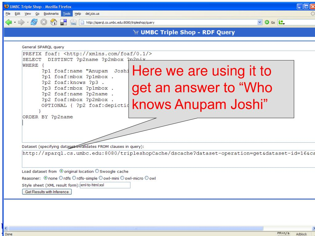 "Here we are using it to get an answer to ""Who knows Anupam Joshi"""