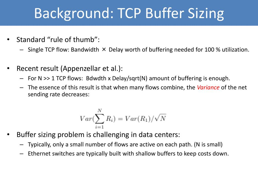 Background: TCP Buffer Sizing
