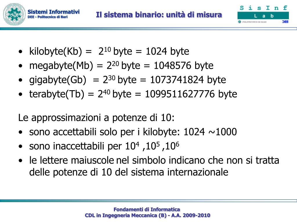 Il sistema binario: unità di misura