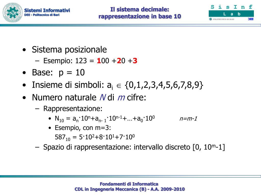 Il sistema decimale: