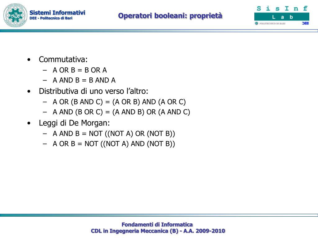 Operatori booleani: proprietà