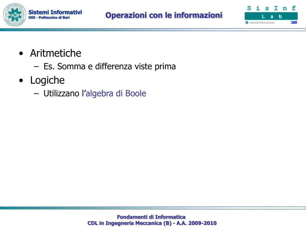 Operazioni con le informazioni