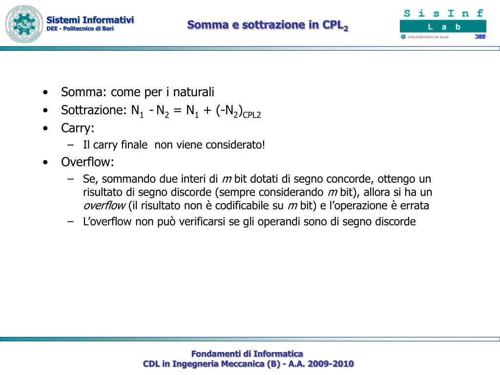 Somma e sottrazione in CPL