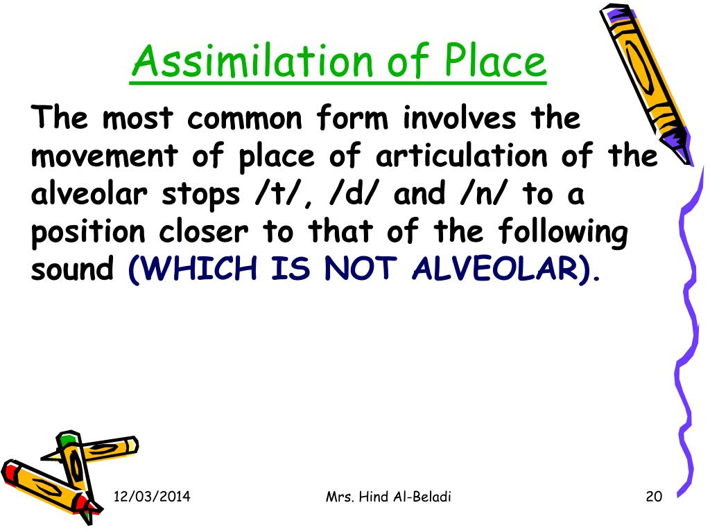 Assimilation of Place