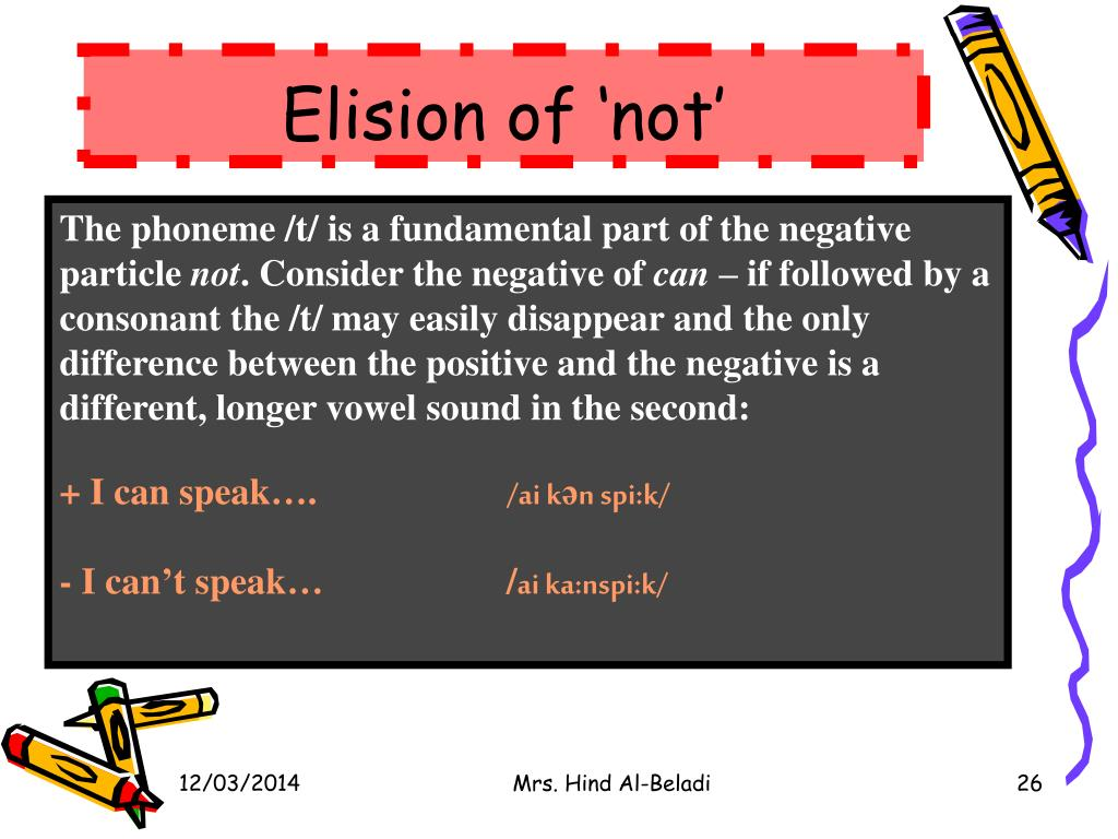 Elision of 'not'