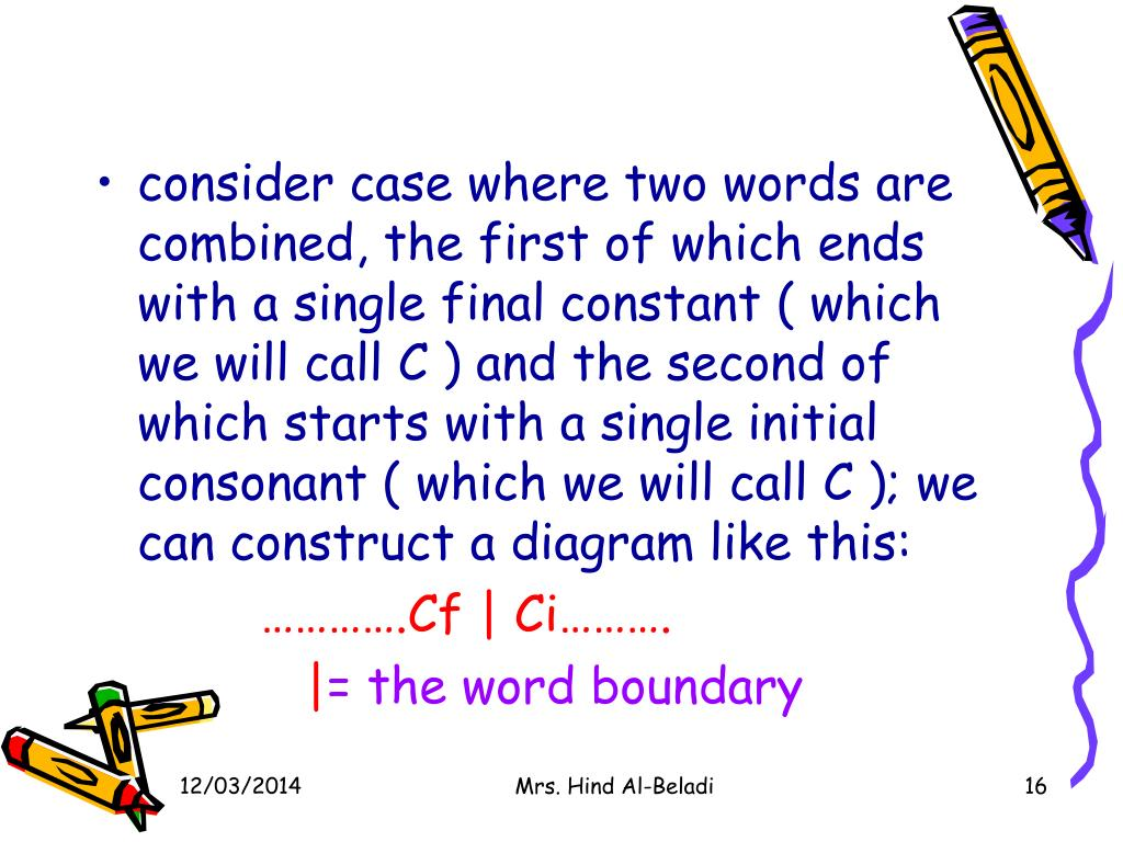 consider case where two words are combined, the first of which ends with a single final constant ( which we will call C ) and the second of which starts with a single initial consonant ( which we will call C ); we can construct a diagram like this:
