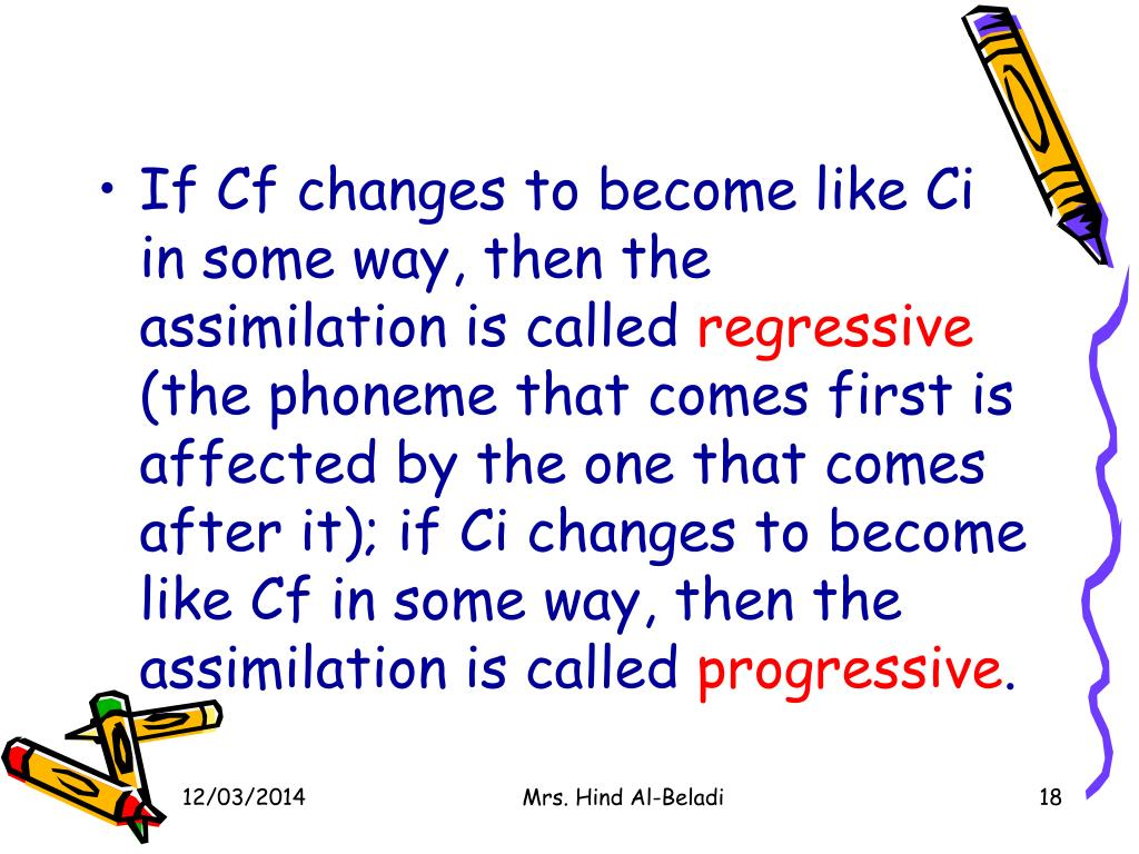 If Cf changes to become like Ci in some way, then the assimilation is called