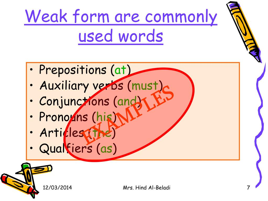 Weak form are commonly used words