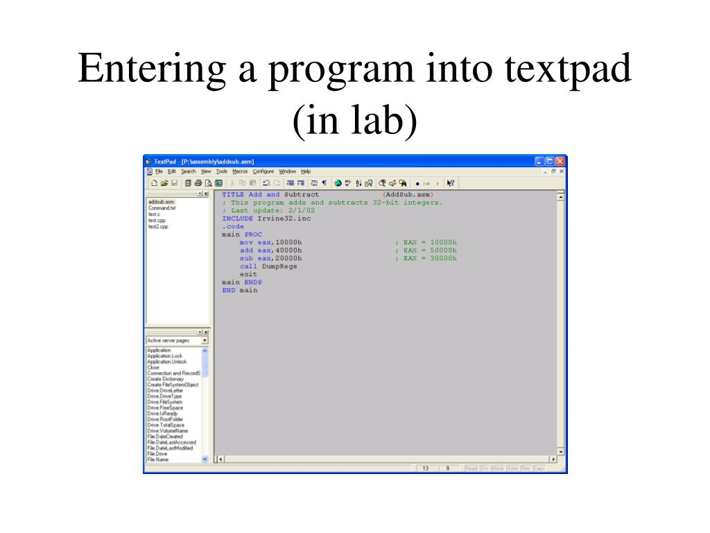Entering a program into textpad (in lab)