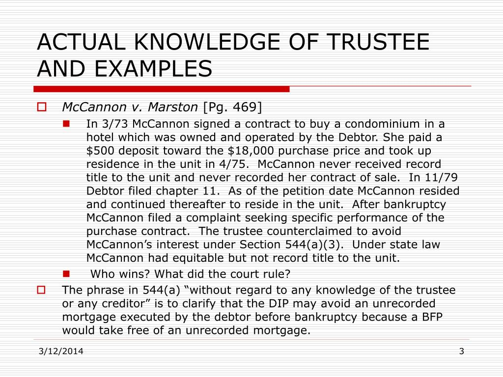 ACTUAL KNOWLEDGE OF TRUSTEE AND EXAMPLES