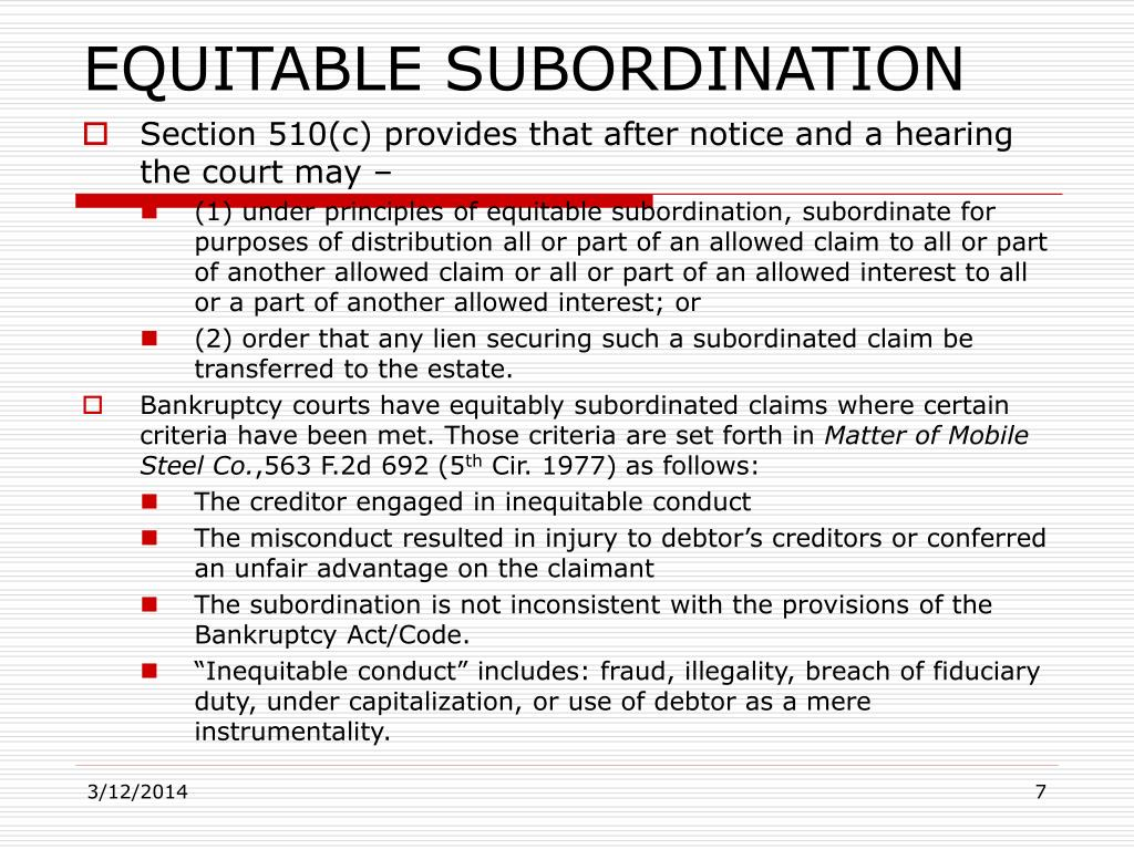 EQUITABLE SUBORDINATION