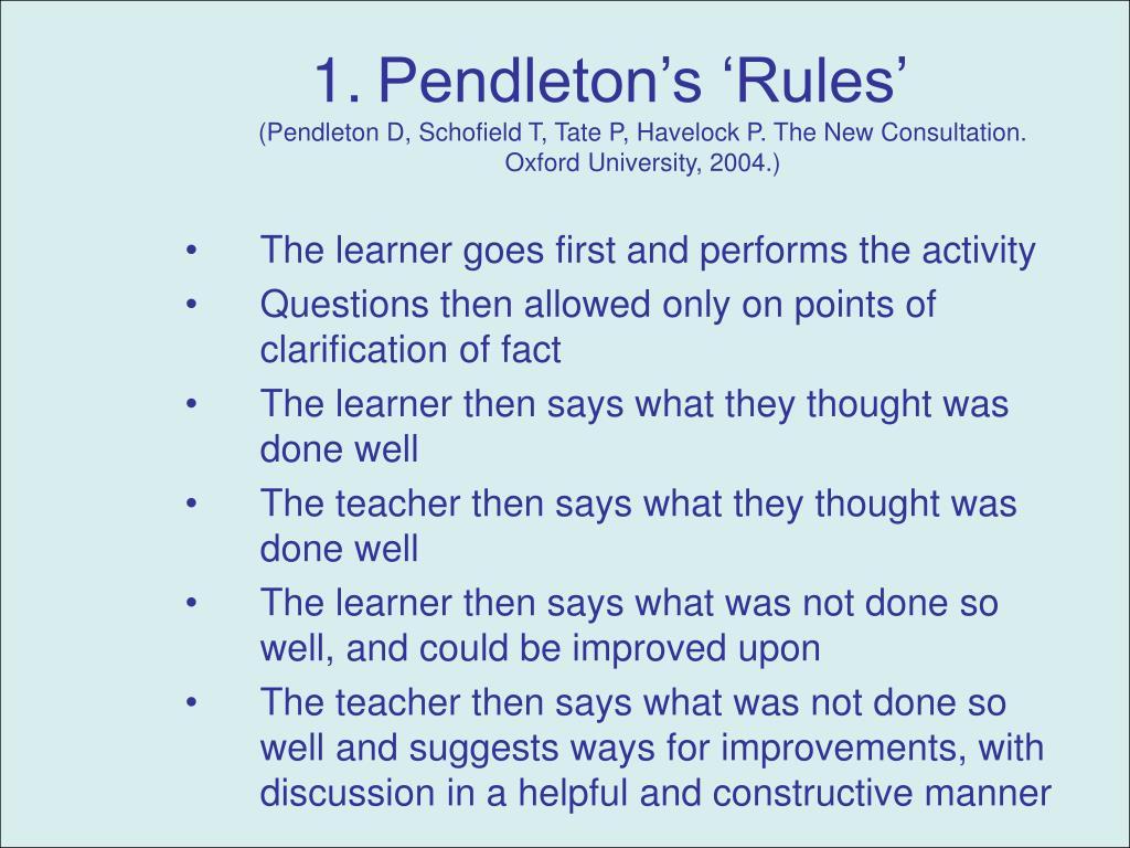 Pendleton's 'Rules'