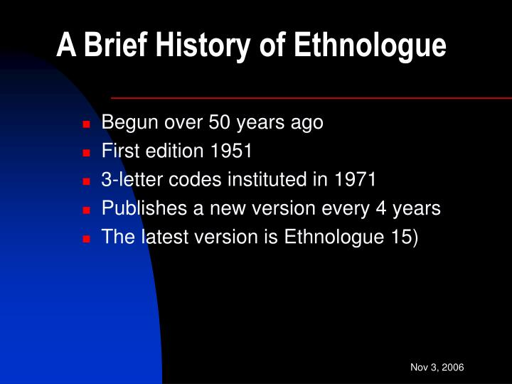 A brief history of ethnologue