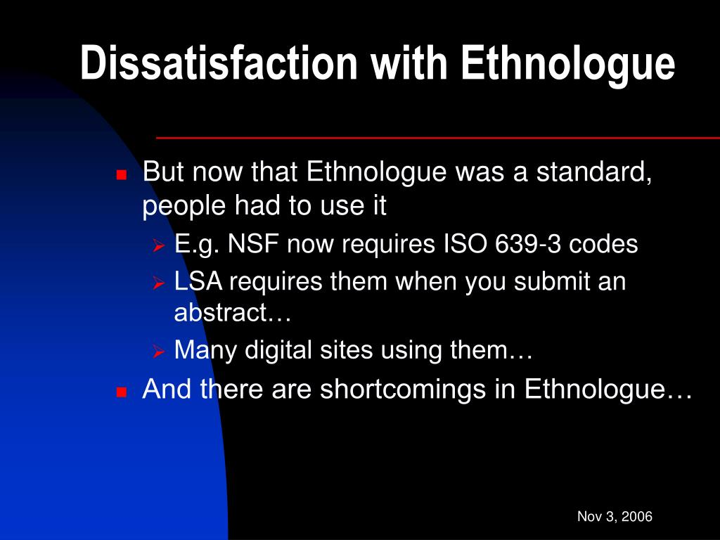 Dissatisfaction with Ethnologue