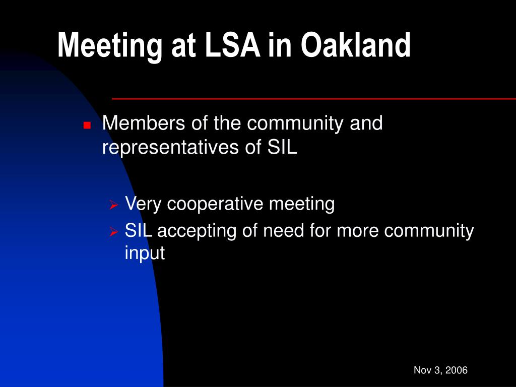 Meeting at LSA in Oakland