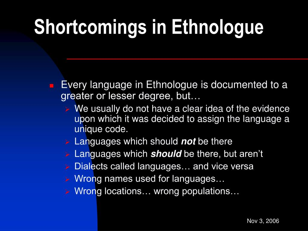 Shortcomings in Ethnologue