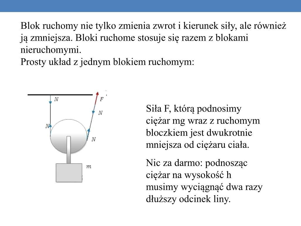 Blok ruchomy nie tylko zmienia zwrot i kierunek siły, ale również ją zmniejsza. Bloki ruchome stosuje się razem z blokami nieruchomymi.
