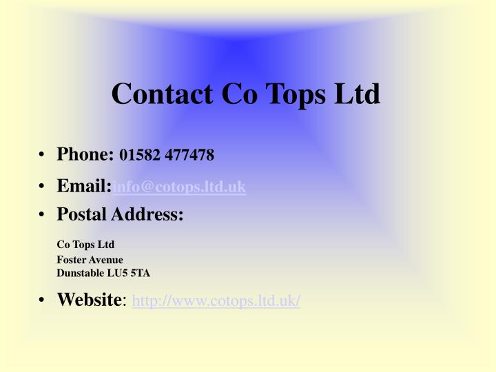 Contact co tops ltd