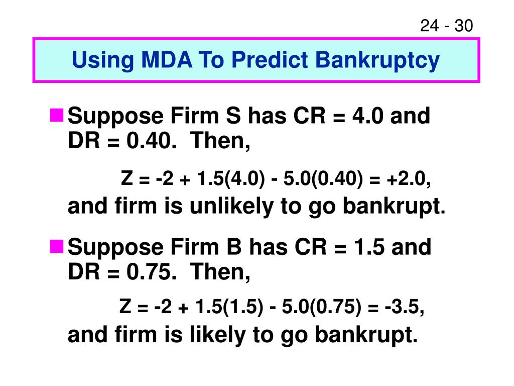 Using MDA To Predict Bankruptcy