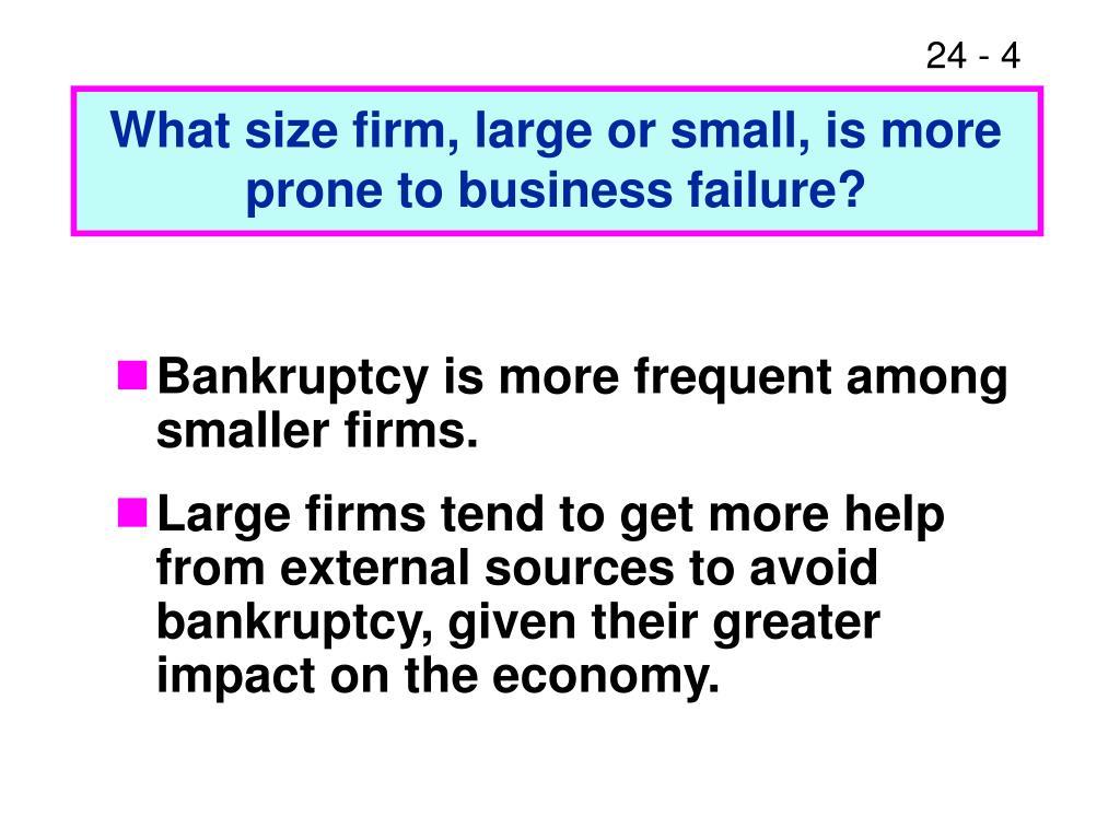 What size firm, large or small, is more prone to business failure?