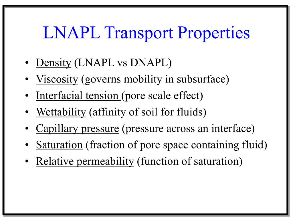 LNAPL Transport Properties
