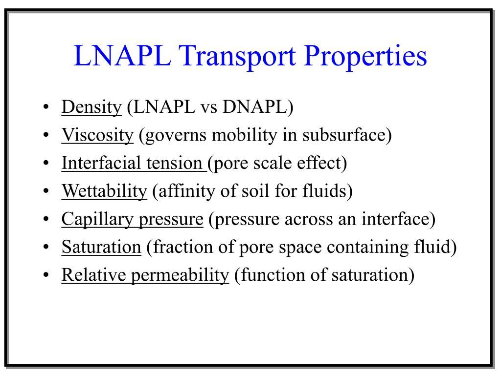 LNAPL Transport Properties