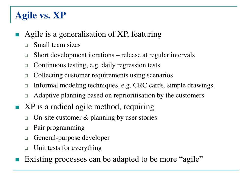 Agile vs. XP