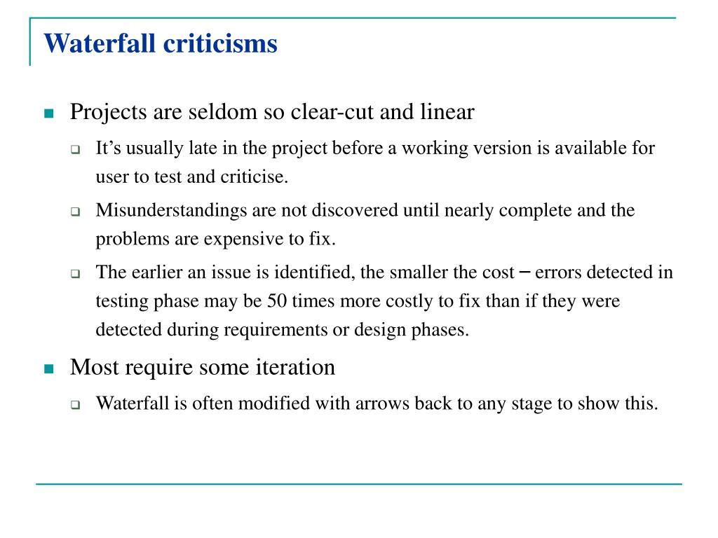 Waterfall criticisms
