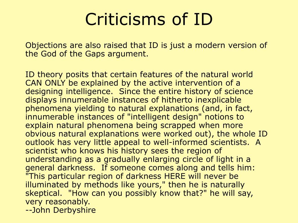 Criticisms of ID