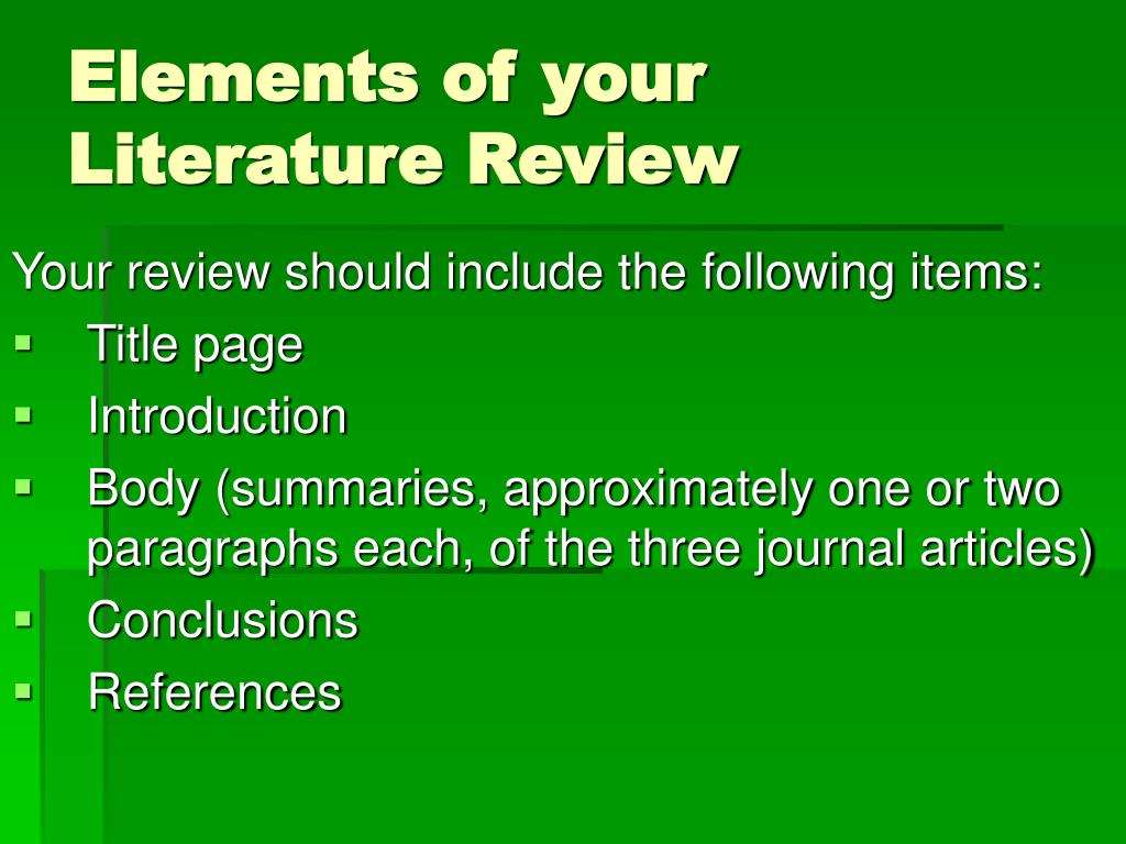 Elements of your Literature Review