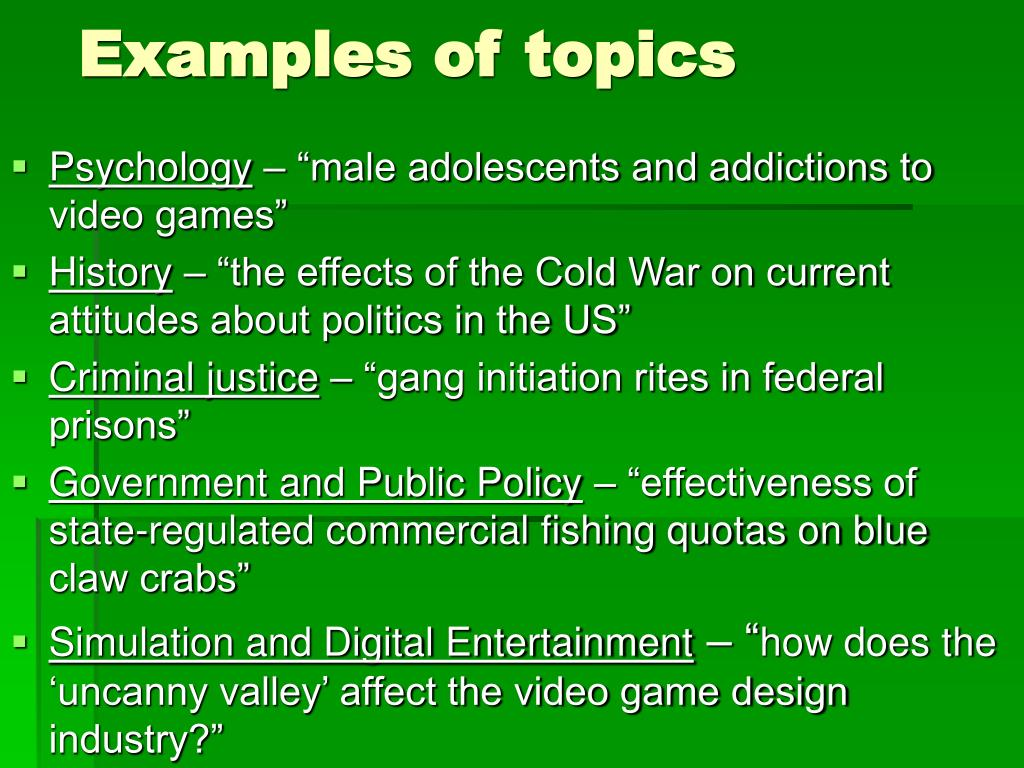 Examples of topics