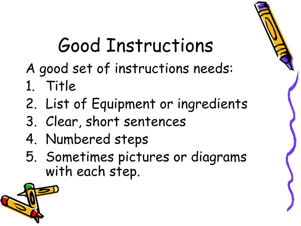 Good Instructions