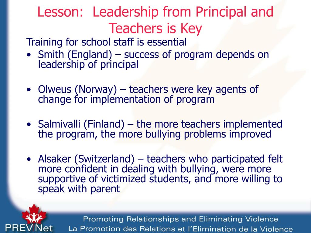 Lesson:  Leadership from Principal and Teachers is Key