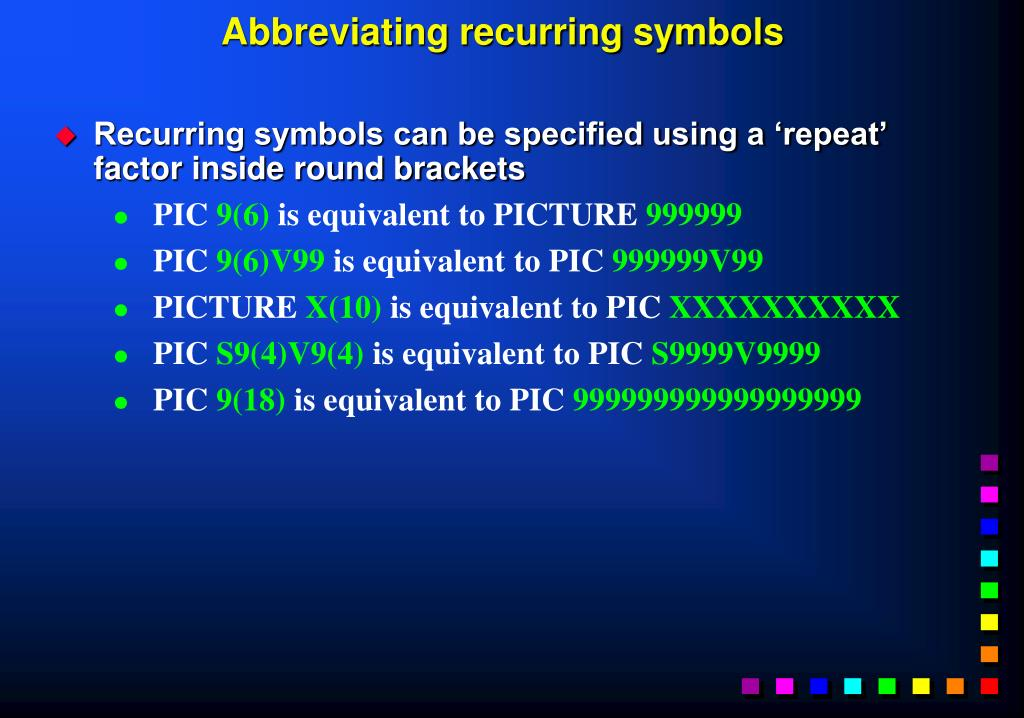 Abbreviating recurring symbols
