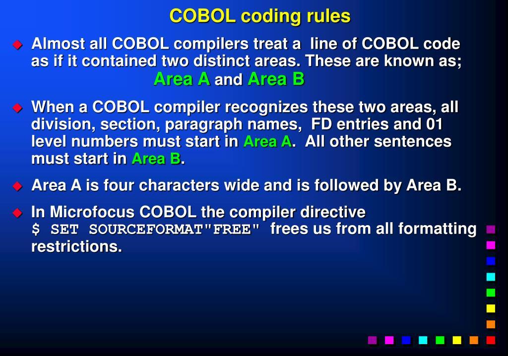 COBOL coding rules