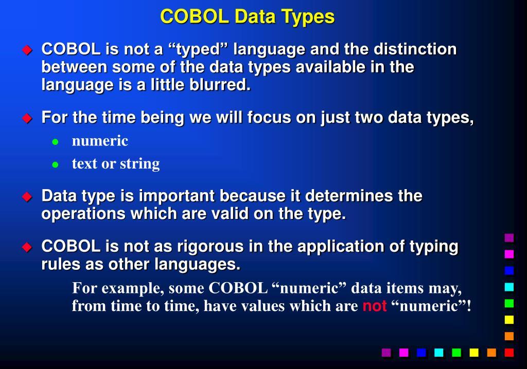 COBOL Data Types
